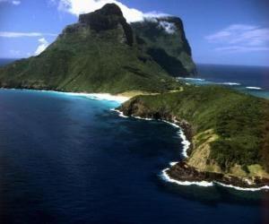 puzzel Lord Howe Eilanden, deze archipel is een voorbeeld van het genereren van een reeks van geïsoleerde oceanische eilanden door onderzeese vulkanische activiteit. Australië.