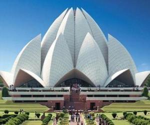 puzzel Lotus Tempel, Bahá'í Huis van Aanbidding in Delhi, India