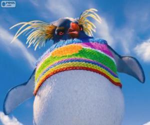 puzzel Lovelace, een vreemde pinguïn met een gekleurde wollen trui, Happy Feet 2