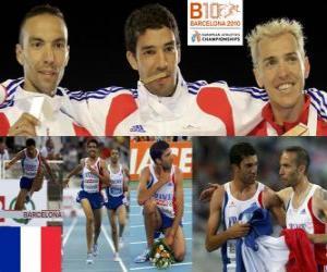puzzel Mahiedine Mekhissi-Benabbes 3000 m steeplechase kampioen, Bouabdellah Tahri en Jose Luis Blanco (2e en 3e) van het Europees Kampioenschap Atletiek 2010 in Barcelona