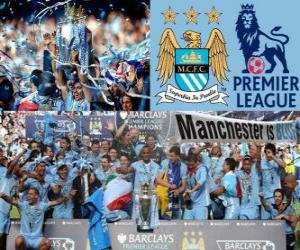 puzzel Manchester City, kampioen Premier League 2011-2012, Football League uit Engeland