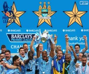 puzzel Manchester City, Premier League 2013-2014 kampioen, England Football League