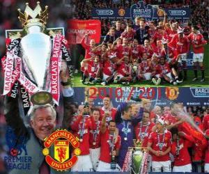 puzzel Manchester United, de kampioen van het Engels voetbal competitie. Premier League 2010-2011