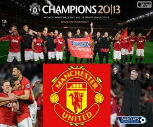 puzzel Manchester United, kampioen Premier League 2012-2013, Football League uit Engeland