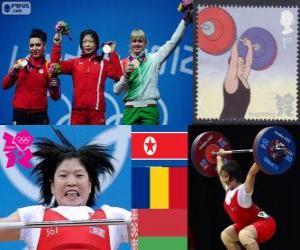 puzzel Mannen 69 kg Gewichtheffen podium, Rim Jong-Sim (Noord-Korea), Roxana Cocoş (Roemenië) en Maryna Shkermankova (Bilorrusia) - Londen 2012-
