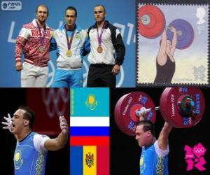 puzzel Mannen 94 kg Gewichtheffen podium, Ilya Iljin (Kazachstan), Alexandr Ivanov (Rusland) en Anatoly Ciricu (Moldavië) - Londen 2012-