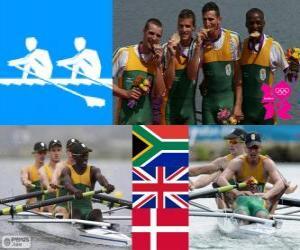puzzel Mannen lichtgewicht vier-zonder-vier, Zuid-Afrika, Verenigd Koninkrijk en Denemarken - Londen 2012 - roeien podium