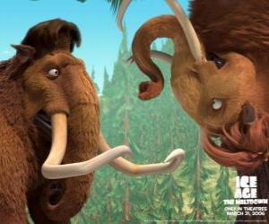 puzzel Manny en Ellie, twee mamuts in liefde