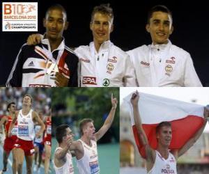 puzzel Marcin Lewadowski 800 meter kampioen, Michael Rimmer en Adam Kszczot (2de en 3de) van het Europees Kampioenschap Atletiek 2010 in Barcelona