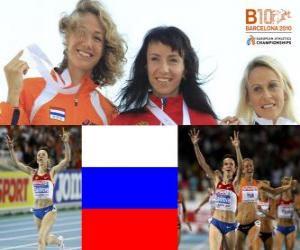 puzzel Maria Savinov kampioen op 800 m, Yvonne Hak en Jennifer Meadows (2e en 3e) van het Europees Kampioenschap Atletiek 2010 in Barcelona