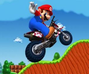 puzzel Mario Bros op een motorfiets