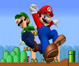 puzzel Mario en zijn broer Luigi, de meest beroemde loodgieters