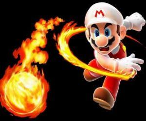 puzzel Mario het gooien van een vuurbal