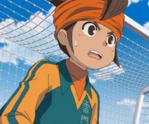 puzzel Mark Evans of Mamoru Endo, doelman van het voetbal van de Raimon School team en hoofdpersoon van de serie Inazuma Eleven