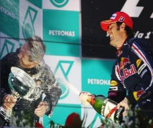puzzel Mark Webber in het podium