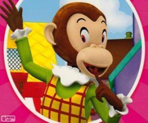 puzzel Marta Monkey maakt grapjes aan de ander speelgoed