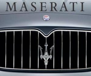 puzzel Maserati logo, Italiaanse sportwagen merk