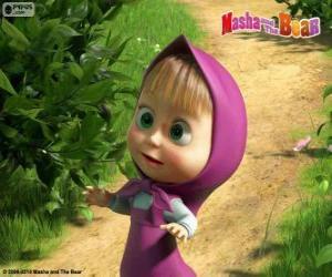 puzzel Masha, het kleine meisje, de hoofdpersoon van Masha en de beer