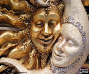 puzzel Maskers van de zon en de maan