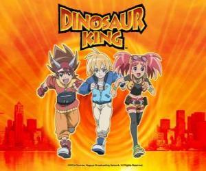 puzzel Max, Rex en Zoe, de deskundigen over dinosaurussen en de hoofdrolspelers van de serie Dinosaur King