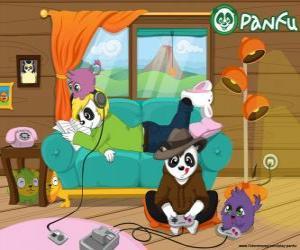puzzel Max spelen van videogames, terwijl Ella is het lezen en het luisteren naar muziek met hun huisdieren