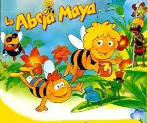 puzzel Maya de Bee en haar vriend Willi onder de ogen van Flip en andere tekens