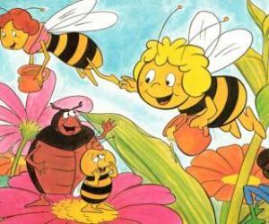 puzzel Maya vloog samen met de leraar Cassandra dragen een pot honing elk, terwijl wili hun vrienden en Kurt begroeten