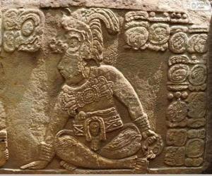 puzzel Mayan tekeningen gesneden op een steen