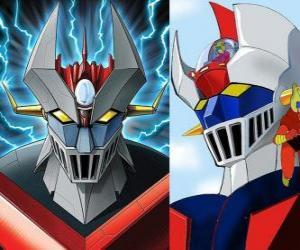 puzzel Mazinger Z, afbeeldingen van het hoofd van de Super Robot
