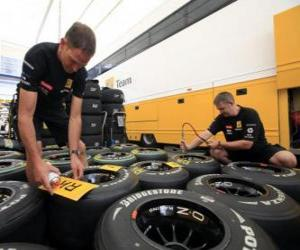 puzzel Mechanische F1, voorbereiding van de band