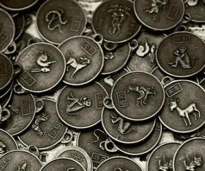 puzzel Medailles met de tekenen van de Chinese dierenriem