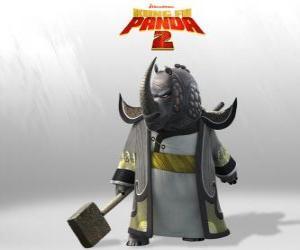 puzzel Meester Razende Neushoorn  is de meest vereerde van alle meesters van Kung Fu Raad
