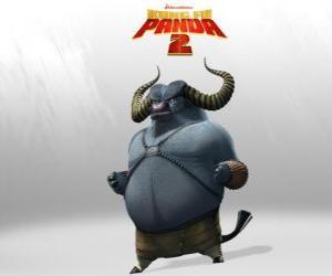 puzzel Meester Stormende Os is de beste leerling van Meester Razende Neushoorn. Zijn hoorns zijn zijn dodelijkste wapen