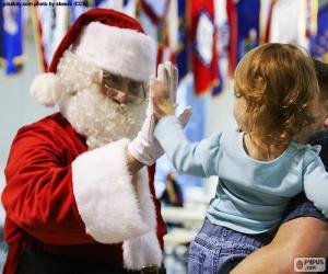 puzzel Meisje en Papa Noel