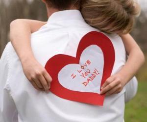 puzzel Meisje feliciteren met zijn vader met een knuffel en een hart papier