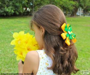 puzzel Meisje met bloemen