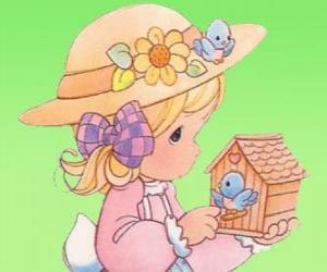 puzzel Meisje met een vogel. Precious Moments