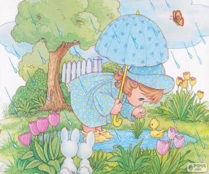 puzzel Meisje op een regenachtige dag