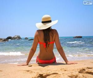 puzzel Meisje op het strand