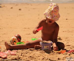 puzzel Meisje spelen op het strand