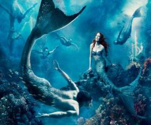 puzzel Mermaids of een sirene op de zeebodem