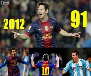 puzzel Messi sluit de 2012 met 91 doelen