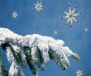 puzzel met sneeuw bedekte dennen tak