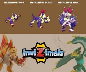 puzzel Metalmutt in drie fasen Metalmutt Pup, Metalmutt Scott en Metalmutt Max, Invizimals