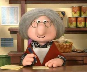 puzzel Mevrouw Goggins de postkantoorhoudster van het dorp Greendale
