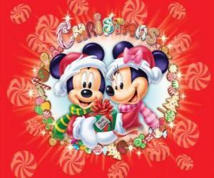 puzzel Mickey en Minnie Mouse wraped opwarmen met Kerstman hoeden