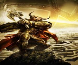 puzzel Minotaur - Giant monster met een menselijk lichaam en stierenkop als een gewapend krijger