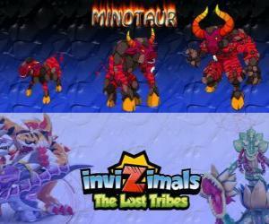puzzel Minotaur, laatste evolutie. Invizimals The Lost Tribes. Gevaarlijke en woest invizimal die is ontsnapt uit de doolhof