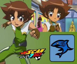 puzzel Mitsuki Kaibara van Scan2Go, de macht van de haai geeft hem een grote kilte en wreedheid tijdens de wedstrijd