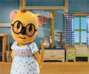 puzzel Mitzi de possum met een mooie jurk